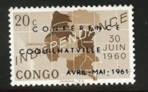 Congo Democratic Republic Scott 371 MH* 1961 Map opt stamp