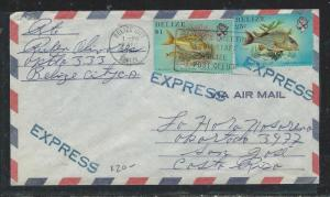 BELIZE  (P2706B) 1985 FISH 25C+$1.00 EXPRESS COVER TO COSTA RICA