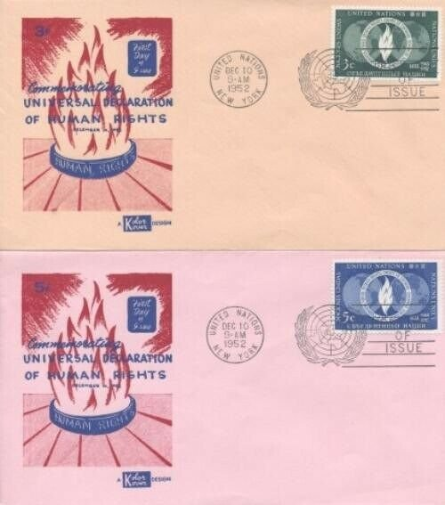 UN #13/14 HUMAN RIGHTS FDC - Kolor Kover set of 2