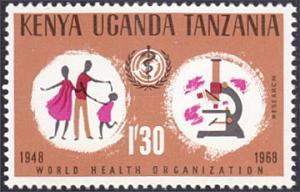Kenya-Uganda-Tanzania # 187 mnh ~ 1.30sh WHO Emblem, Microscope
