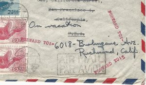 Japan 1950 Airmail Cover to APL Ship Captain in San Francisco, Scott C11x2 & 477
