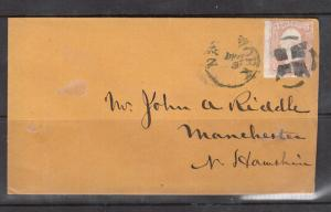 USA #65 Used On Cover With NY Fancy Cancel