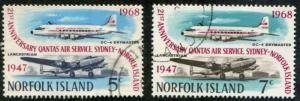 Norfolk Island SC# 119-20 SG# 96-7 Island Air Service set Used