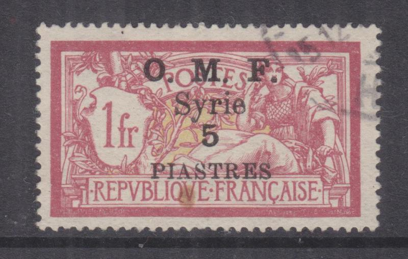 SYRIA, 1921 (July) OMF Syrie 5pi. on 1f. Lake & Yellow, used, small spot.