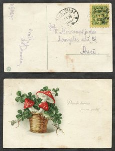 3580 - LATVIA 1928 RPO/TPO Cancel RIGA-VALKA on New Year's Mushrooms Postcard