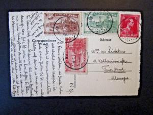 Belgium 1937 Postcard w/ 1900 Paris Expo Poster Stamps (x3) - Z4879