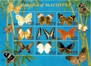 Maldives MNH S/S Butterflies 9 Stamps