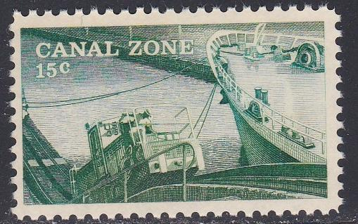Canal Zone # 165, Towing Locomotive and Ship, Unused, No gum