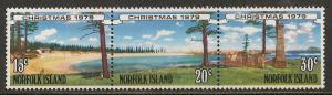 Norfolk Island #253b Strip 3 VF MNH - 1979 Emily Bay Beach