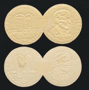 US 1932 2 Edison Golden Jubilee Embossed Foil Seals