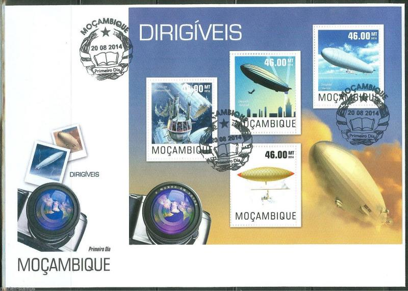 MOZAMBIQUE 2014 DIRIGIBLES  SHEET  FIRST DAY COVER