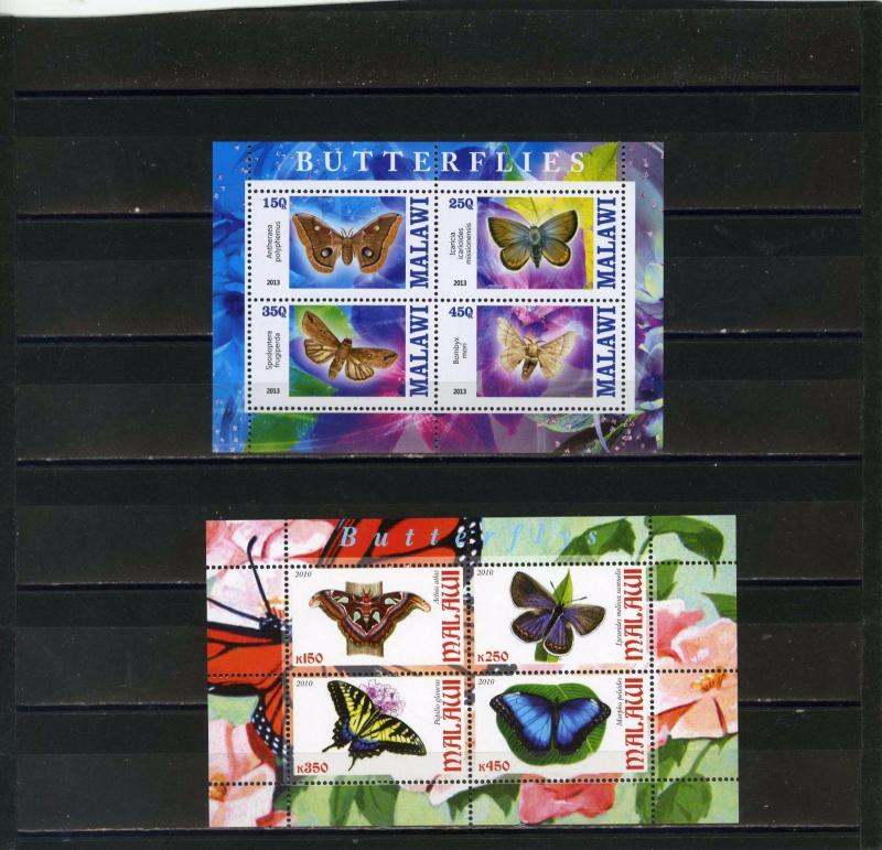 MALAWI 2010,2013 BUTTERFLIES 2 SHEETS OF 4 STAMPS MNH