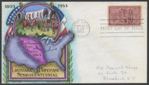 #1020 LOUISIANA PURCHASE ON KNAPP FDC HAND PAINTED CACHET HW893