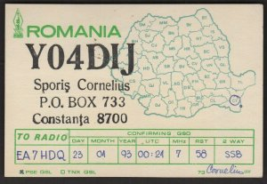 QSL CARD Sporis Cornelius,93,YO4D1J,Constanta,Romania(Q4499)