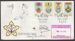 SOUTH AFRICA 1984 Military Medals FDC signed by PM  P.W. Botha & M Malan....L691