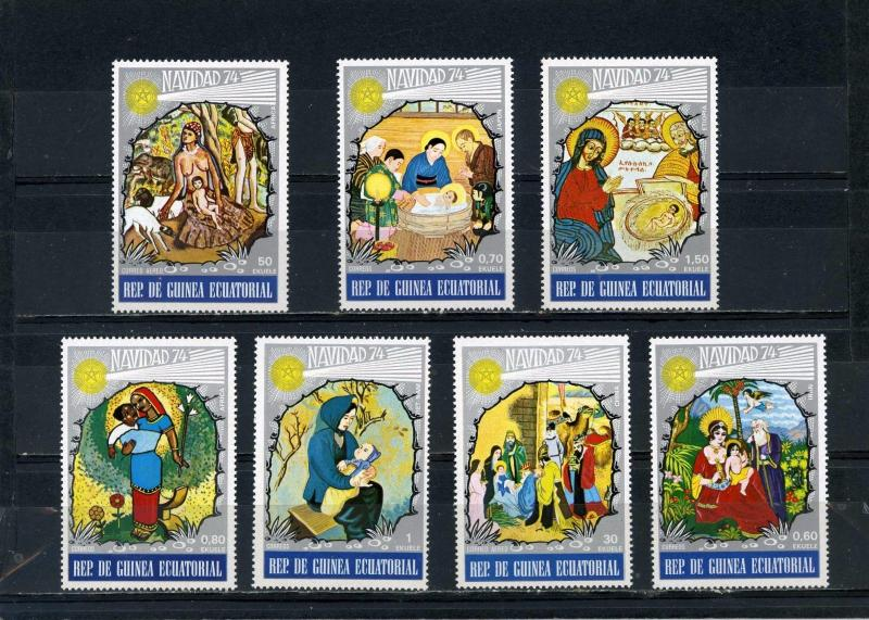 EQUATORIAL GUINEA 1974 CHRISTMAS PAINTINGS SET OF 7 STAMPS MNH
