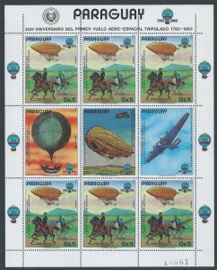 Paraguay #2104 NH 5g Manned Flight Anniv., Dirigible - Sh...