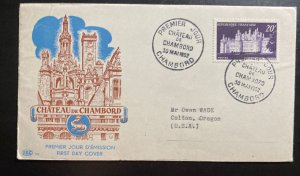 1952 Chambord France First Day Cover FDC Castle Of chambord