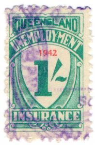 (I.B) Australia - Queensland Revenue : Unemployment Insurance 1/- (1942)