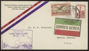 Mexico C3 & 638 on 1929 First Flight Cover w/Servicio Aereo Tampico, Tam. pmk