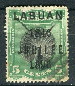 NORTH BORNEO LABUAN; 1890s classic Pictorial issue fine used 5c. value