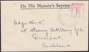 NEW ZEALAND 1940 Small OHMS cover TRENTHAM MILITARY CAMP cds................2722