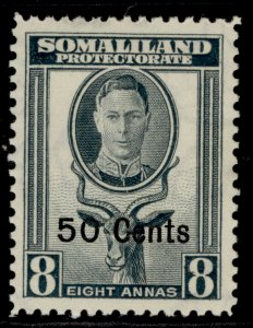 SOMALILAND PROTECTORATE GVI SG130, 50c on 8a grey, M MINT.