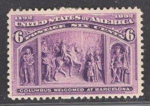 US Stamp #235 6c Purple Columbus at Barcelona MINT HINGED SCV $50.00