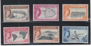 ASCENSION (MM356) # 62-67 VF-MNH VARp 1956 QEII / VARIOUS DESIGNS CV $10