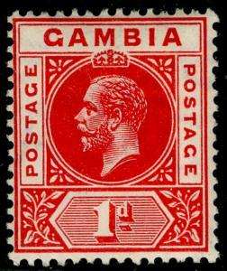 GAMBIA SG87, 1d red, LH MINT. WMK MULT CA.