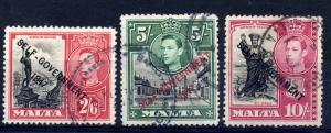 Malta 1948 sg 246-248 self govt 2/6, 5/- and 10/- all FU