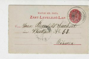 Hungary 1895 OKA crown Slogan Cancel  to Bohemia Stamp Letter ref 22271