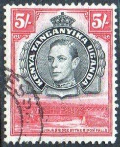 KUT 1938 5/- black and carmine (P13¼) used