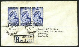 MONTSERRAT 1949 Registered cover to UK - CUDJOE HEAD village cds...........94770