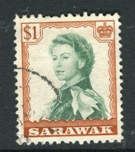 SARAWAK; 1955 early QEII issue fine used $1. value