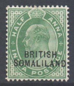 Somaliland Scott 21 - SG25, 1903 Edward VII 1/2a Overprint at Bottom MH*
