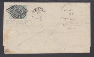 Roman States Sc 7 on 1859 Cover, TERRACINA to ROME, Cert.