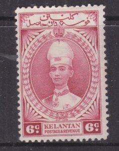KELANTAN, 1937 Sultan Ismail, 6c. Lake, lhm., slight spots.