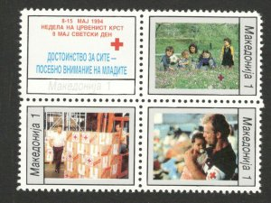 MACEDONIA-MNH** BLOCK OF 4 STAMPS, 1 - RED CROSS--1994. (104)