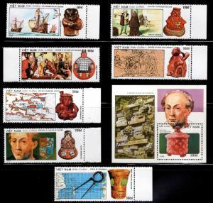 Vietnam Scott 2118-2125 MNH** Perforate Columbus set  and 1990 souvenri sheet