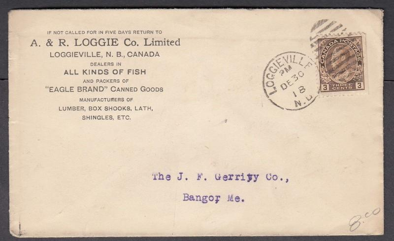 NEW BRUNSWICK TOWN CANCEL COVER LOGGIEVILLE
