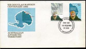 AANT-16 AUSTRALIA AAT 1983 ANTARCTIC ANTARCTICA STATION DAVIS SIR D MAWSON FDC
