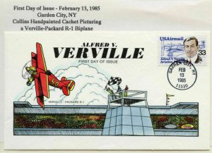 #C113 33c VERVILLE ON FDC COLLINS HAND PAINTED CACHET FEB 13, 1985 BL9936