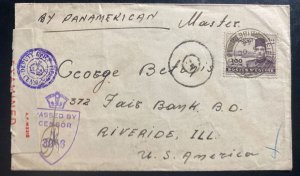 1944 Middle East Forces In Egypt 186 Censored Cover To Riverside IL USA
