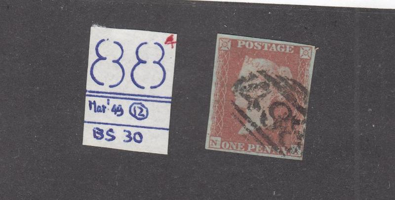 GB SG BS30 PLATE 90 PENNY RED IMPERF 4 MARGINS VERY LIGHT USED