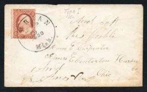 US Scott #25 on Cover, Adrian Michigan Sept 9, 1859 CDS Cancel