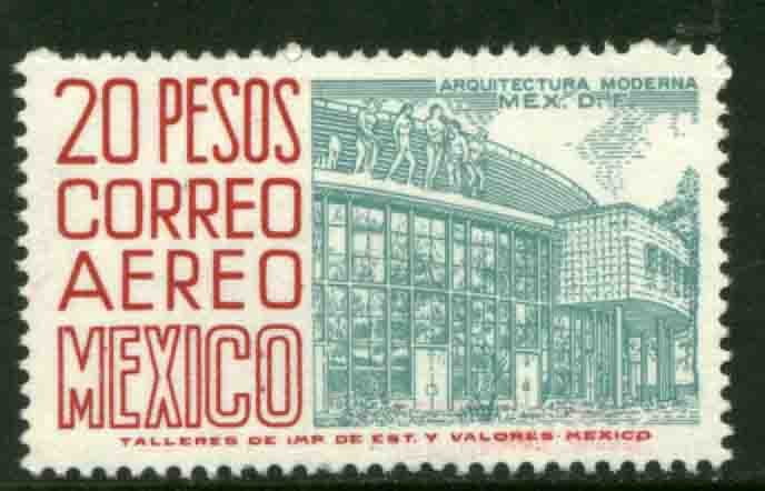 MEXICO C268a $20Pesos 1950 Def 8th Issue Fluorescent GLAZED MINT, NH. VF.