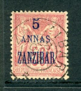 FRANCE OFF ZANZIBAR #25  great early issue, nice   (USED) cv$32.00