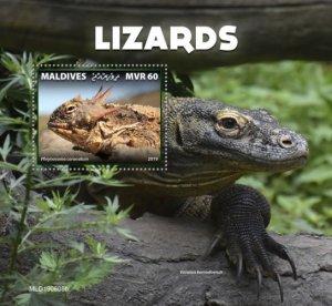 MALDIVES - 2019 - Lizards - Perf Souv Sheet - MNH