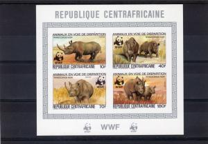 Central African Republic 1983 WWF Rhino S/S IMPERFORATED Mi#985B/988B MNH